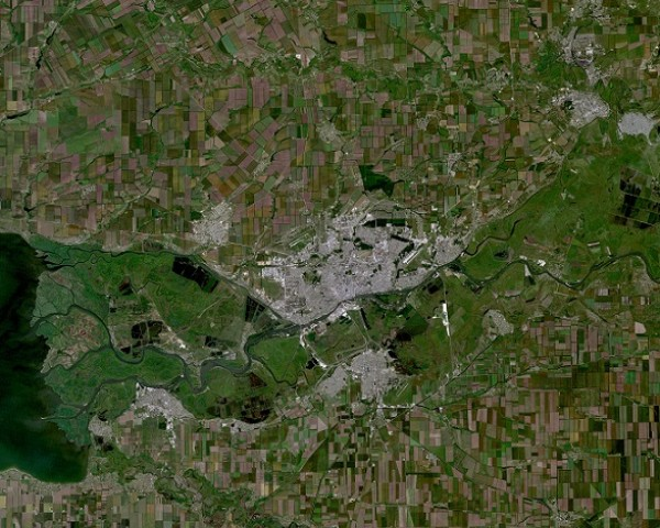 Rostov-on-Don Russia city and vicinities near natural colors LandSat-5 2010-06-10